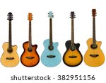 Acoustic Guitars Isolated On...