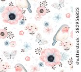 Stock vector seamless pattern with birds robin butterflies anemones and small flowers in vintage watercolor 382956823