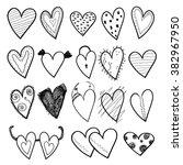 hearts doodles | Shutterstock .eps vector #382967950