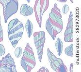 seashells seamless vector... | Shutterstock .eps vector #382973020