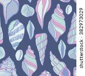 seashells seamless vector... | Shutterstock .eps vector #382973029