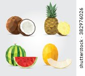 polygonal fruits. coconut ... | Shutterstock .eps vector #382976026