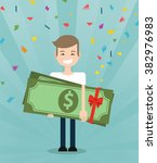 young brunette guy really happy ... | Shutterstock .eps vector #382976983