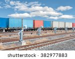 container trains with blue sky   Shutterstock . vector #382977883