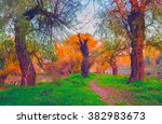 landscape painting showing road ... | Shutterstock . vector #382983673