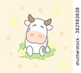 cute cow  drawing for kids... | Shutterstock .eps vector #382983838