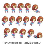 pinky girl game sprites. pinky... | Shutterstock .eps vector #382984060