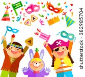 happy kids celebrating purim... | Shutterstock .eps vector #382985704
