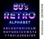 80's Retro Alphabet Vector Fon...