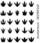 black footprint of dinosaur ... | Shutterstock .eps vector #382989160