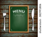 wooden board with menu and... | Shutterstock .eps vector #382991806