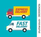 delivery service trucks.... | Shutterstock .eps vector #383000656