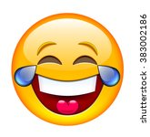 laughing emoticon with tears....   Shutterstock .eps vector #383002186