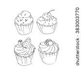 cupcakes and muffins. set of... | Shutterstock .eps vector #383003770