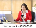 businesswoman wearing red suit... | Shutterstock . vector #383005960