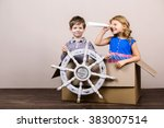 playful childhood. little... | Shutterstock . vector #383007514