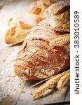 Freshly Baked Bread In Rustic...