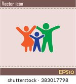 happy family icon in simple...   Shutterstock .eps vector #383017798
