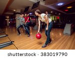 cheerful friends at the bowling ... | Shutterstock . vector #383019790