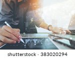 businessman working with... | Shutterstock . vector #383020294