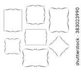 set calligraphic frames ... | Shutterstock .eps vector #383023990