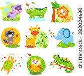 cute animals jpg. cute animals... | Shutterstock . vector #383024680