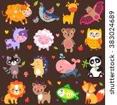cute animals jpg. cute animals... | Shutterstock . vector #383024689