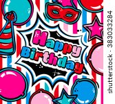 birthday card with balloons ... | Shutterstock .eps vector #383033284
