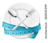 plate with blue measuring tape... | Shutterstock .eps vector #383035399