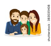 family with children on a white ... | Shutterstock .eps vector #383035408