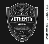 antique badge label typography... | Shutterstock .eps vector #383037118