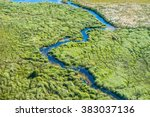 aerial view of a small stream... | Shutterstock . vector #383037136