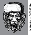 lion face with vintage.hand... | Shutterstock .eps vector #383037544