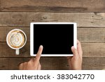 hand using mock up tablet... | Shutterstock . vector #383042770