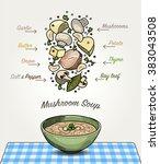 vector mushroom soup in bowl...   Shutterstock .eps vector #383043508