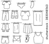 Stock vector vector set of drying clothes 383048563