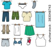 Stock vector vector set of drying clothes 383048743