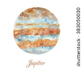 planet jupiter. watercolor... | Shutterstock . vector #383050030