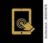 tablet touch screen icon  gold...