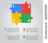 six jigsaw puzzle pieces | Shutterstock . vector #383055580