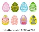 set of easter eggs with folk... | Shutterstock .eps vector #383067286