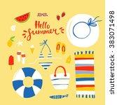 summer beach vector set | Shutterstock .eps vector #383071498