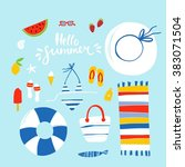 summer beach vector set | Shutterstock .eps vector #383071504