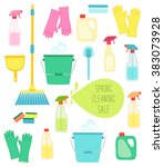 cute vivid spring cleaning... | Shutterstock . vector #383073928