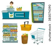 supermarket object set   vector ... | Shutterstock .eps vector #383074390