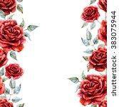 bright watercolor floral... | Shutterstock . vector #383075944