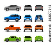 cars side front and back icons... | Shutterstock . vector #383077948