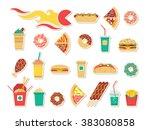 fast food menu set. vector fast ... | Shutterstock .eps vector #383080858