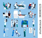 medical care people fllat icons ... | Shutterstock . vector #383083123