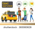 the tourist running taxi to... | Shutterstock .eps vector #383083828